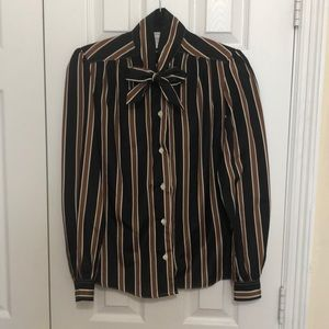 Vintage PussyBow Striped Black & Brown Top /Size 8